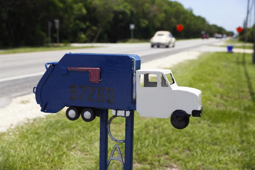 A mailbox in the shape of a truck is seen along the highway US-1 in the Lower Keys near Key Largo in Florida, July 10, 2014. (REUTERS/Wolfgang Rattay)