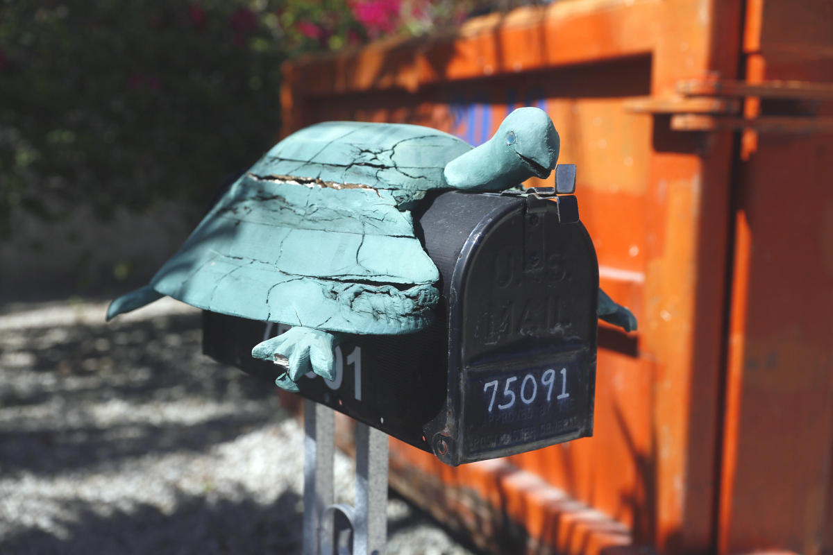 A mailbox in the shape of a turtle is seen along the highway US-1 in the Lower Keys near Islamorada in Florida, July 11, 2014. (REUTERS/Wolfgang Rattay)