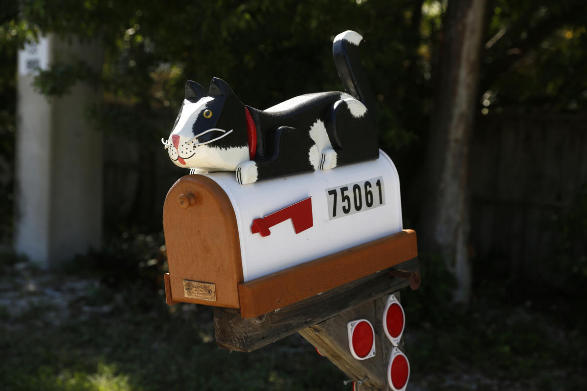A mailbox decorated with a model cat is seen along the highway US-1 near Islamorada in Florida, July 11, 2014. (REUTERS/Wolfgang Rattay)