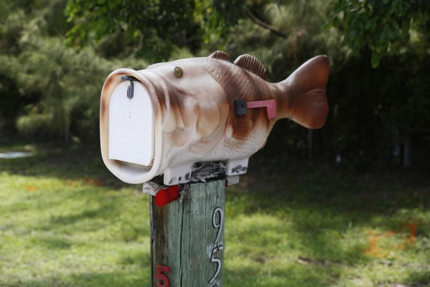 A mailbox in the shape of a fish is seen along the highway US-1 in the Lower Keys near Key Largo in Florida, July 10, 2014. (REUTERS/Wolfgang Rattay)