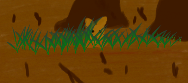 The cute little brown fox hiding in the tall grasses.