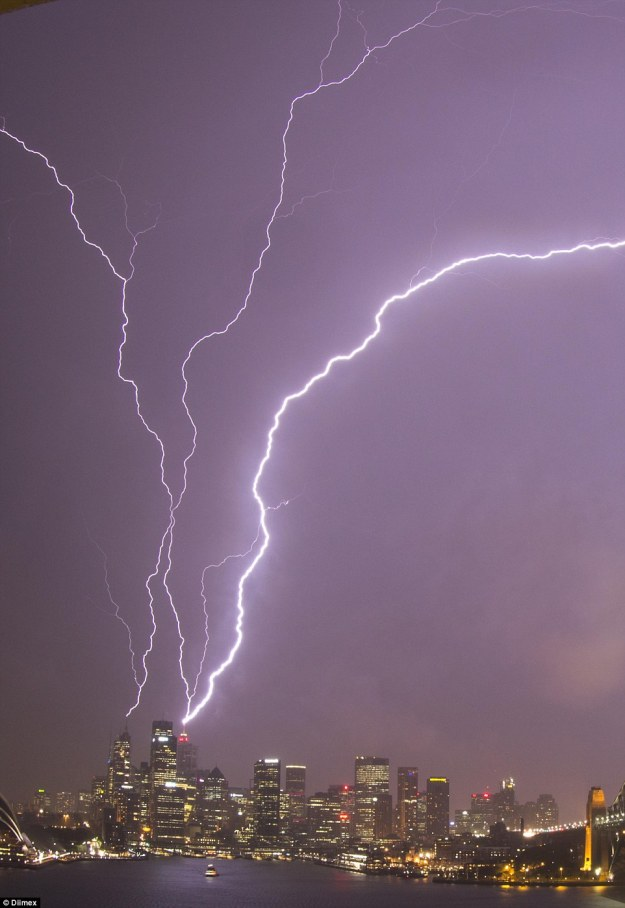 Lightning hit the iconic Sydney Tower in the heart of the city 'creating a shower of sparks and plunging the tower into darkness'