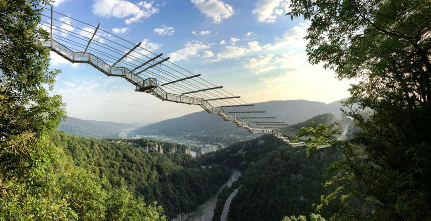 The world's longest pedestrian suspension bridge in Russia. (CEN) 2 / 6 Share to FacebookShare to TwitterShare to Pinterest ClosePrevious imageNext image