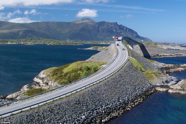 Atlantic Ocean Road passes through an archipelago and links mainland Norway with the island of Averoy. (DailyMail).