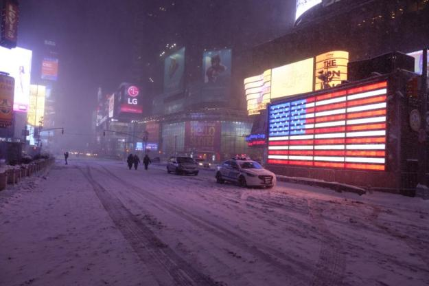 Times Square area in the snow. New York, NY. January 27, 2015. (Kelli Grant/Yahoo News)