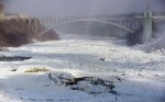 The Rainbow Bridge above a frozen river