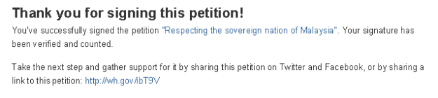The page will be redirected to another page with this message. Then you're done! You have now signed a petition.