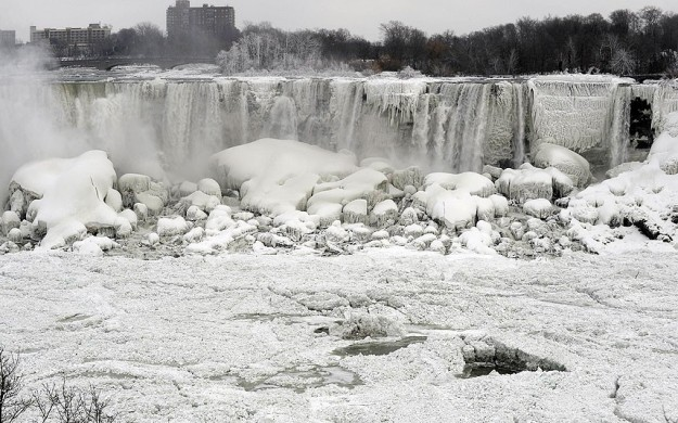 The U.S. side of the Niagara Falls is partially frozen after temperatures in the area dropped to -2F