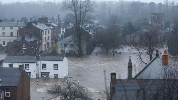 Flooded roads in Appleby in Cumbria, as Storm Desmond hit the UK. (Press Association)