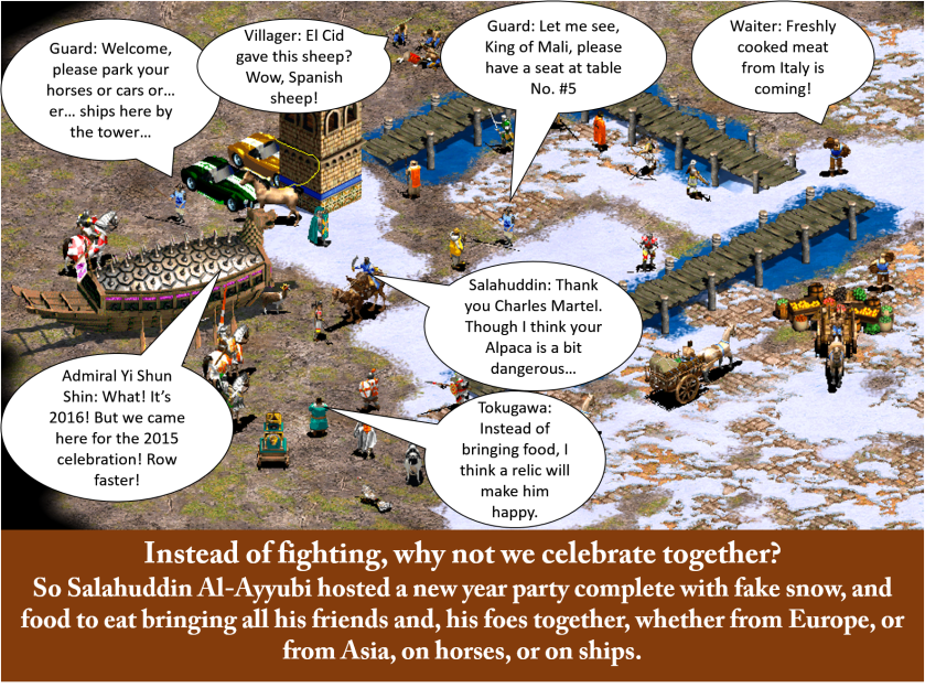 The theme was to make how our favourite unit celebrate a holiday or their birthday. So I made a New Year celebration party hosted by Salahuddin Al-Ayubbi.