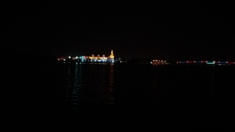 The stunning night view of the Masjid Sultan Ismail, Muar seen from the Masjid Sultan Ibrahim.