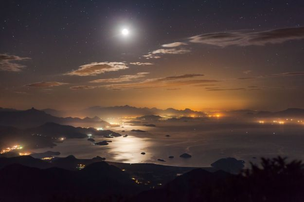 A brilliant moon is reflected in the water of Paraty Bay, Brazil. (Rafael Defavari)