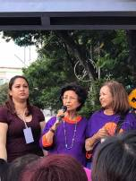 Tun Siti Hasmah (centre) speaking, with her daughter Marina Mahathir (right) beside her