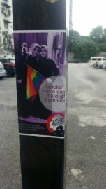 A poster photographed at the rally site.