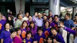 Tun Dr. Mahathir (in blue) with Hannah Yeoh (on Tun M's left) with women DAP leaders.